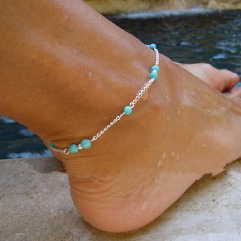 Turquoise Bead Chain Anklet