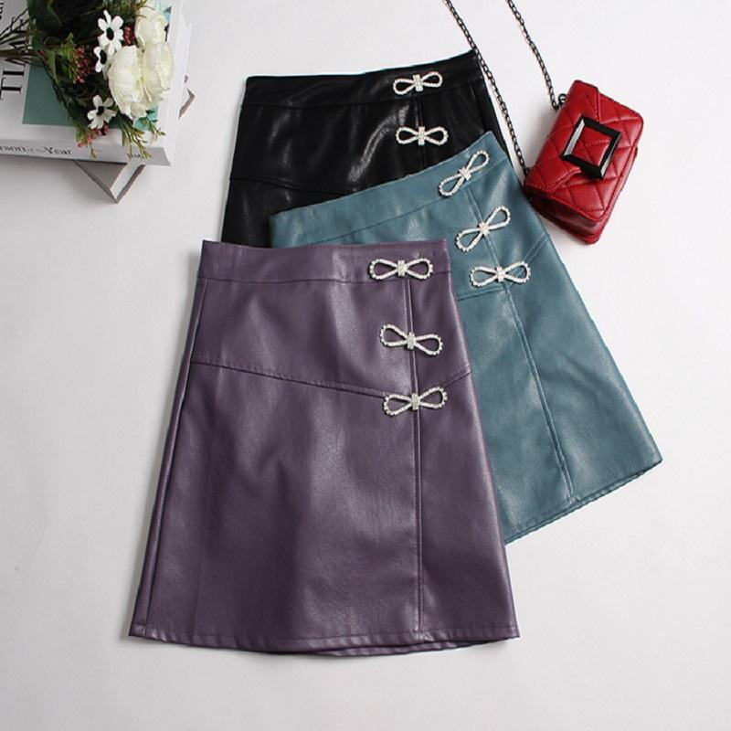 Ribbons A-Line Leather Skirt