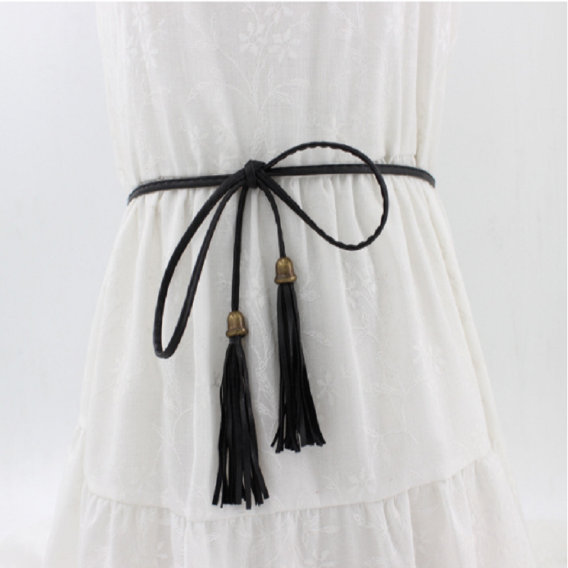 Faux Leather Braid and Tassel Knotting Belt