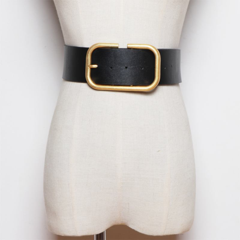 Round Rectangle Buckle Faux Leather Belt