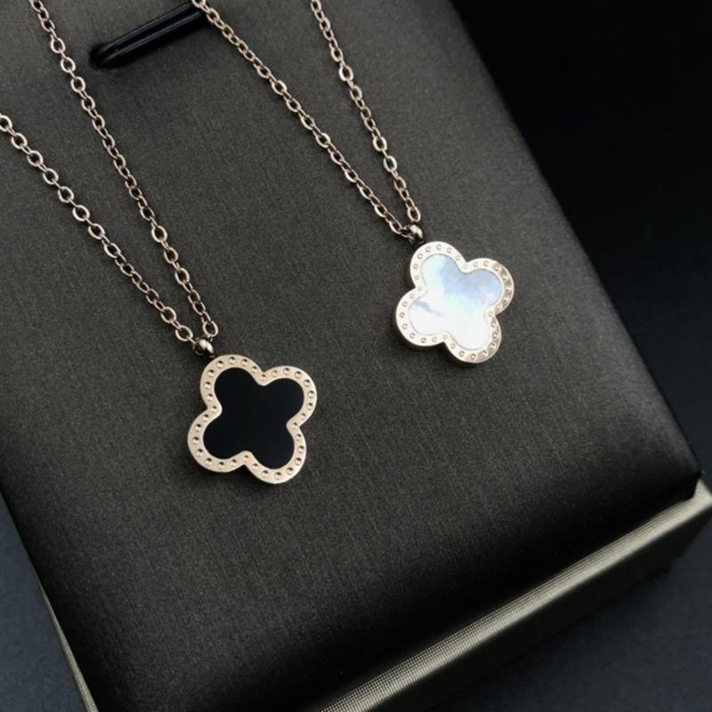 Colored Four Leaf Clover Charm Necklace