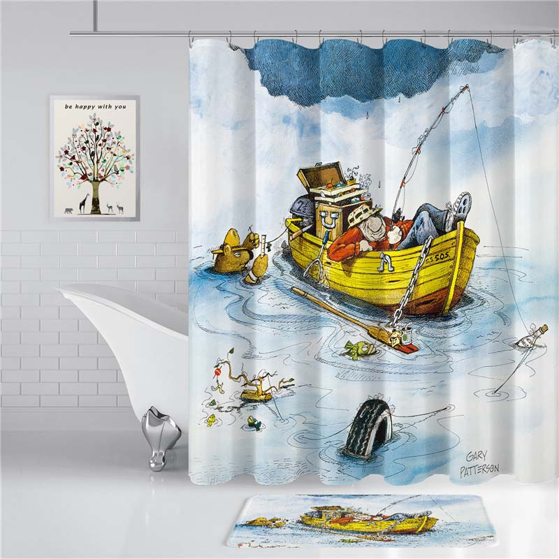 Playing with Water 3D Print Shower Curtain