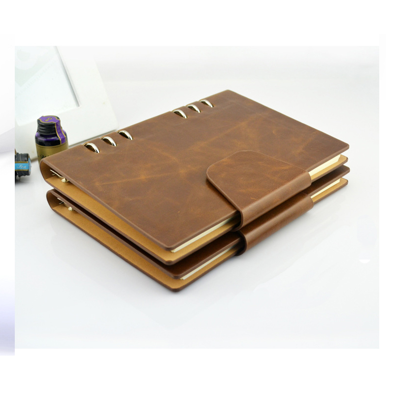 Brown Faux Leather Multi-Function Buckle Notebook
