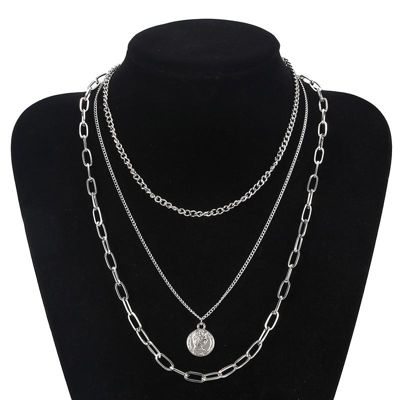 Coins and Chains Three-Layer Necklace
