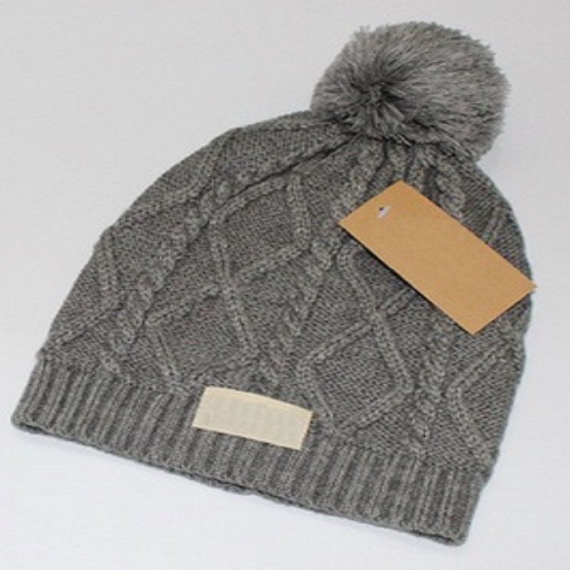 Cable-Knit Beanie with Pompom