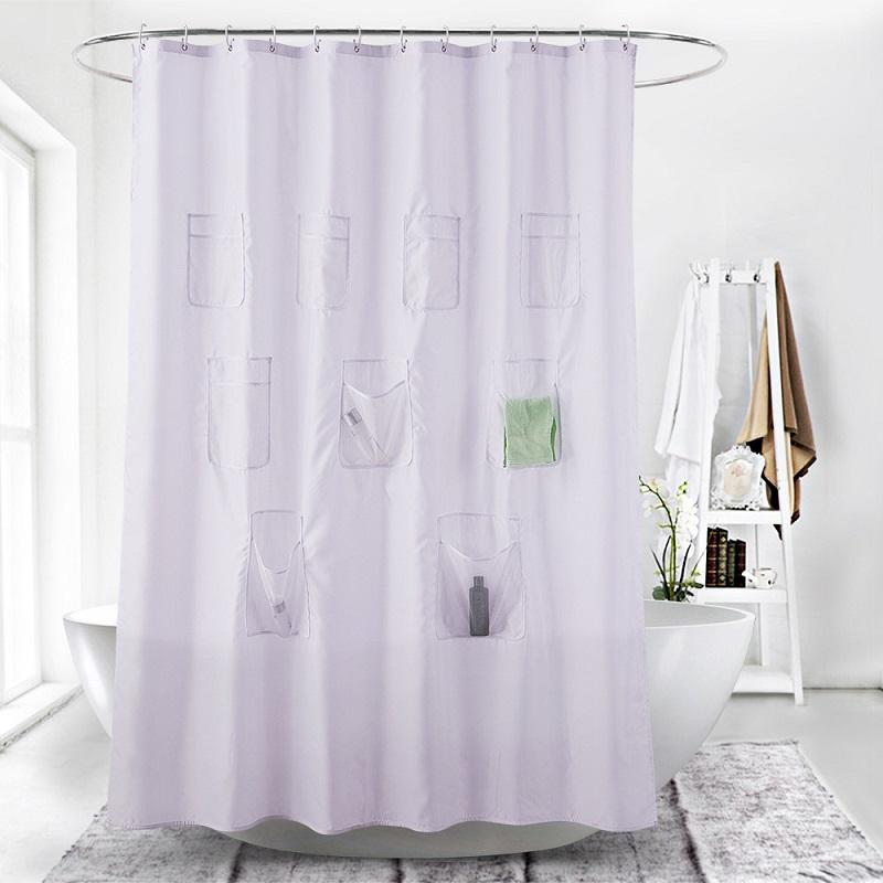 White Shower Curtain with Pockets