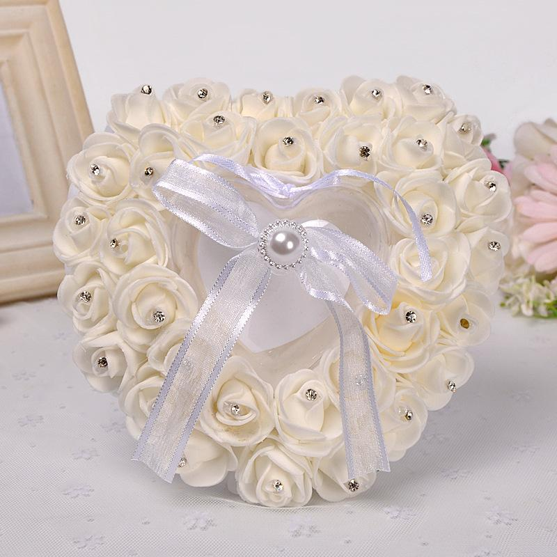 Heart Shaped with White Rose Ring Pillow