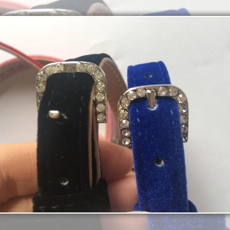 Embedded Rhinestone Leather Small Pet Collar