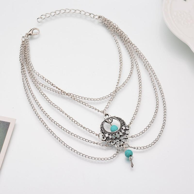 Turquoise Bead Boho Layered Chains Anklet