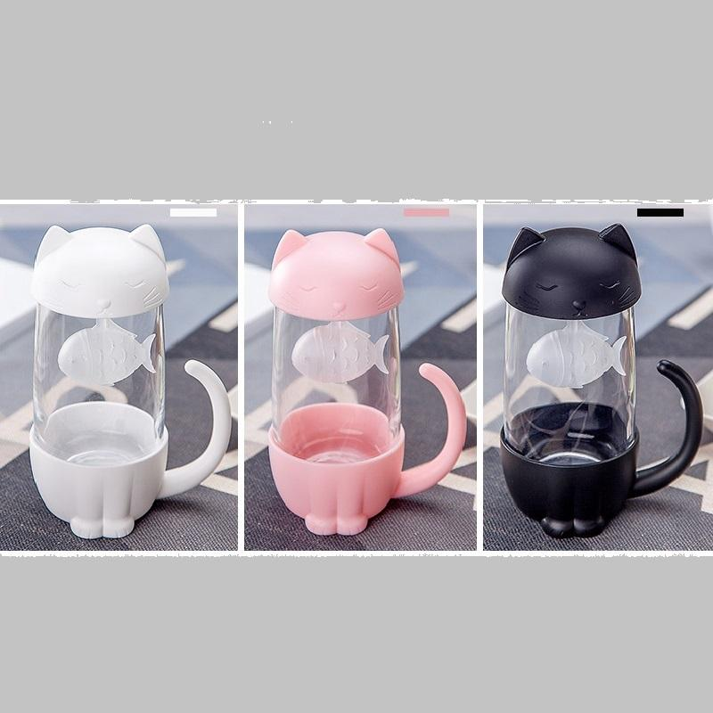 Cat Glass Mug with Fish Strainer