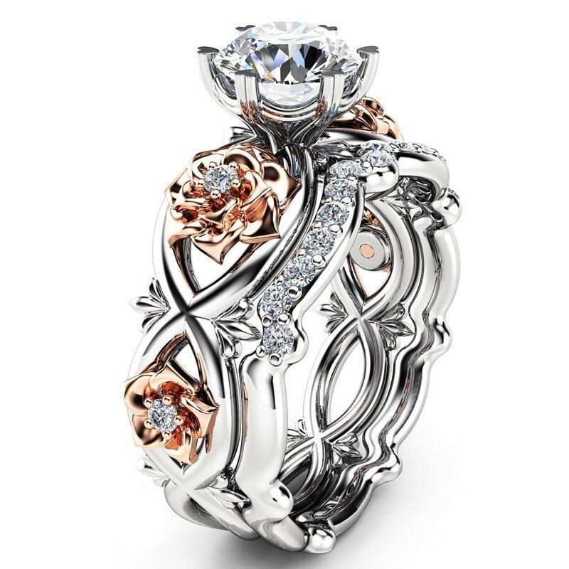 Flowers and Crystal 2-in-1 Ring