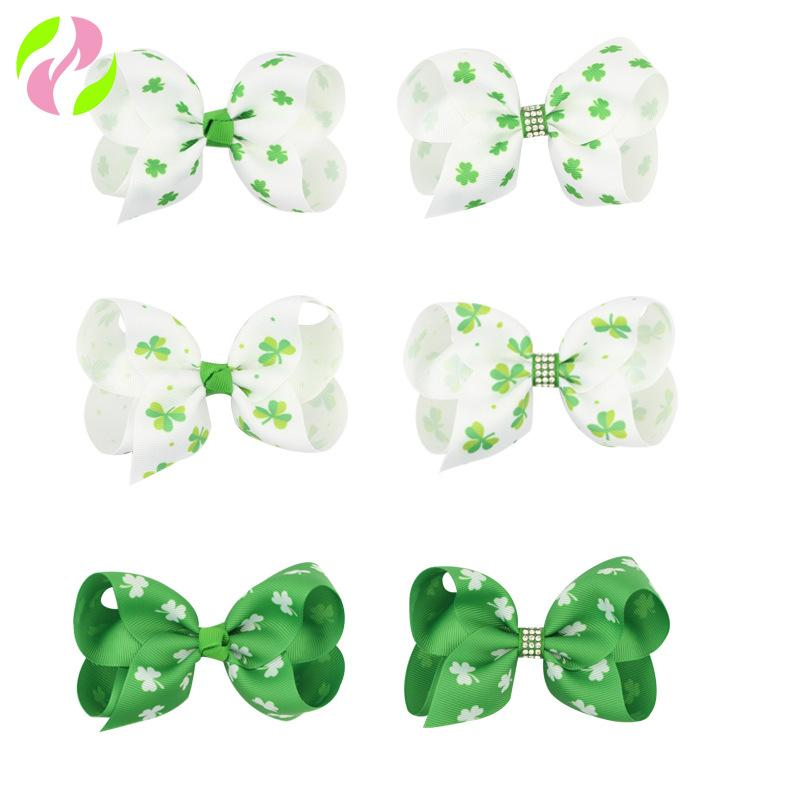 Lucky Clover Kids Hair Bow Clip