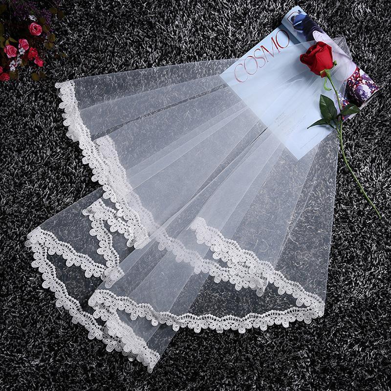 Lace Edge Milky White Wedding Veil
