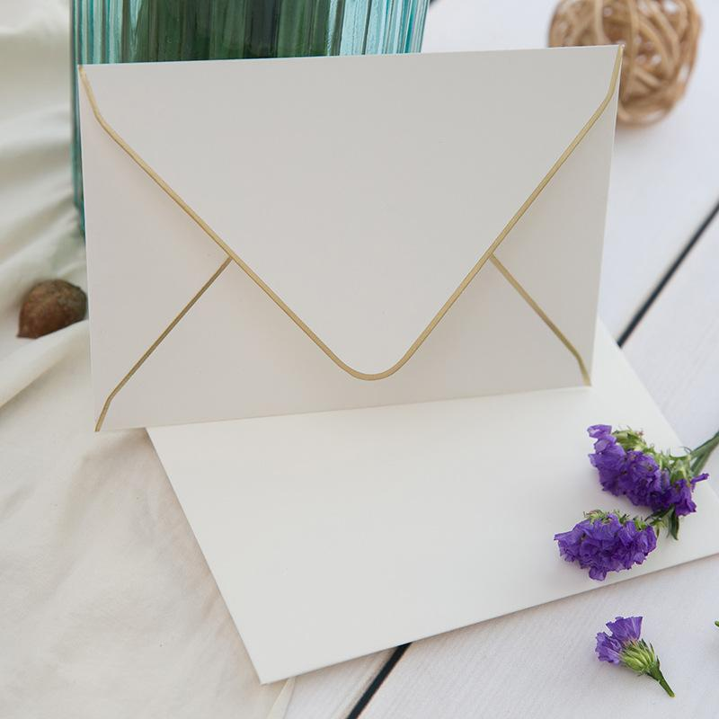 White with Gold Rim Paper Envelope