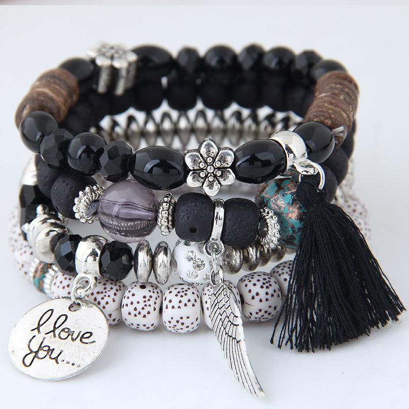 Fatima Hand and Tassel Layered Beaded Bracelet