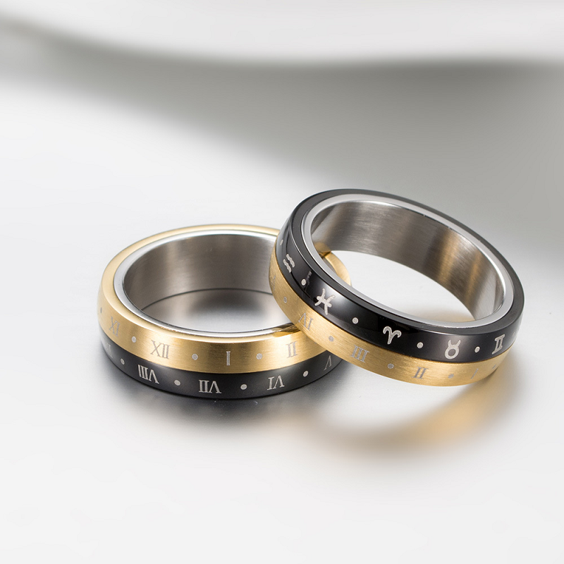 Roman Numerals and Zodiac Signs Tri-Color Ring