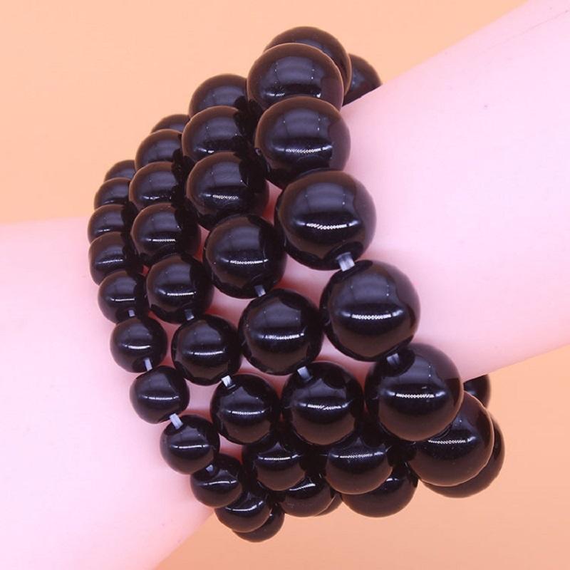 Obsidian Glass Beads Bracelet