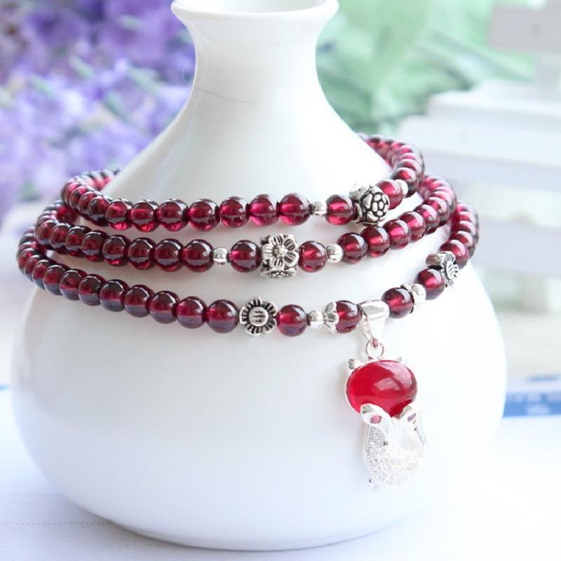 Rose Garnet Beads Mala