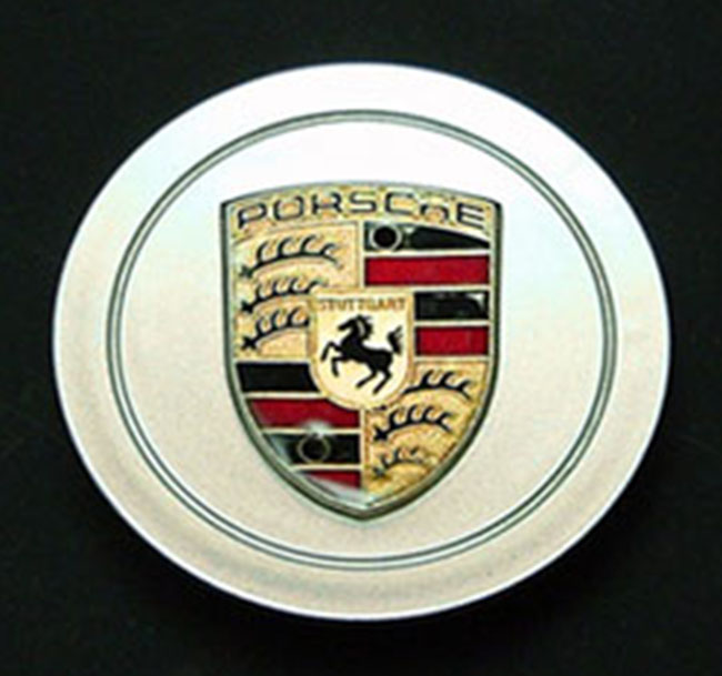 Porsche Silver Late Cap with Factory Color Crest (plastic)