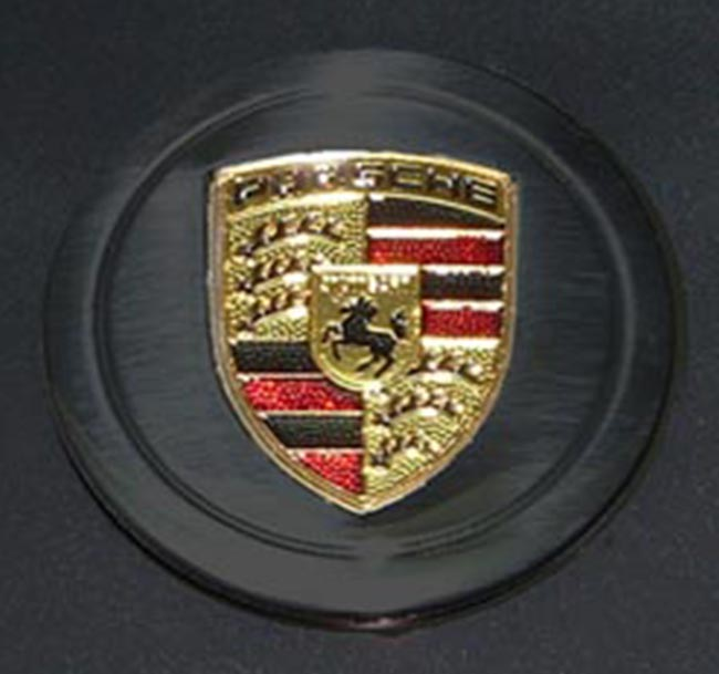Porsche Black Painted Cap with Metal Crest