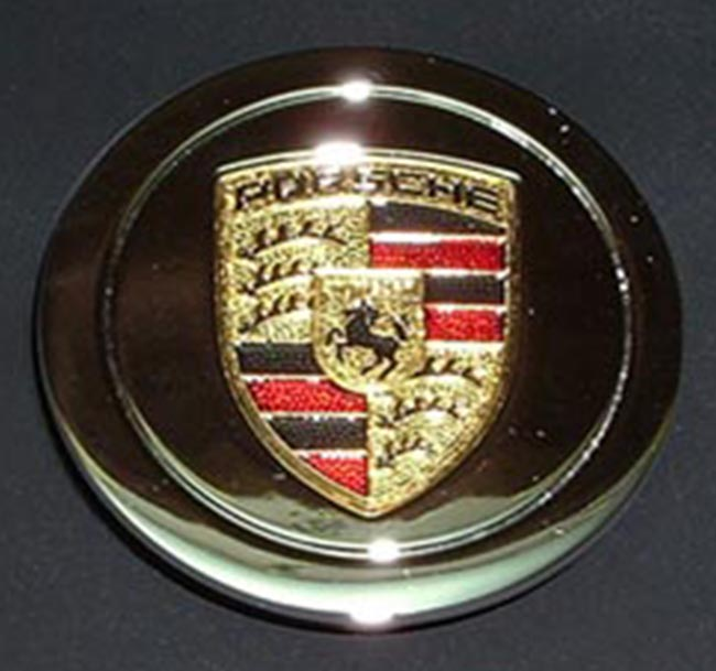 Porsche Chromed Late Cap with 3-Color Inlaid Crest