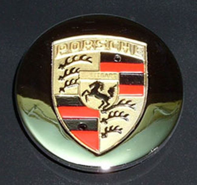 Porsche Chromed Late Cap with Painted Crest