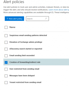 setting an email forward alert page alert policies