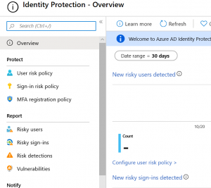 working with azure sentinel Azure AD Identity Protection landing page