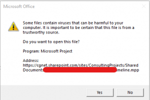 opening files in teams warning message