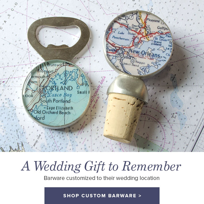 Custom Wedding Gift Idea: Barware Customized to their Wedding Location