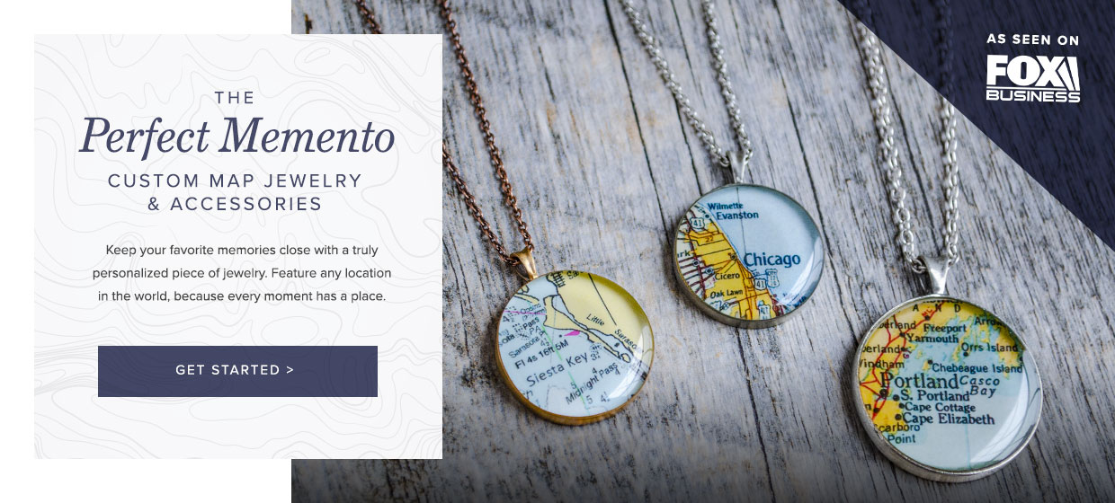 Unique Map Necklace Customized to Any Location in the World