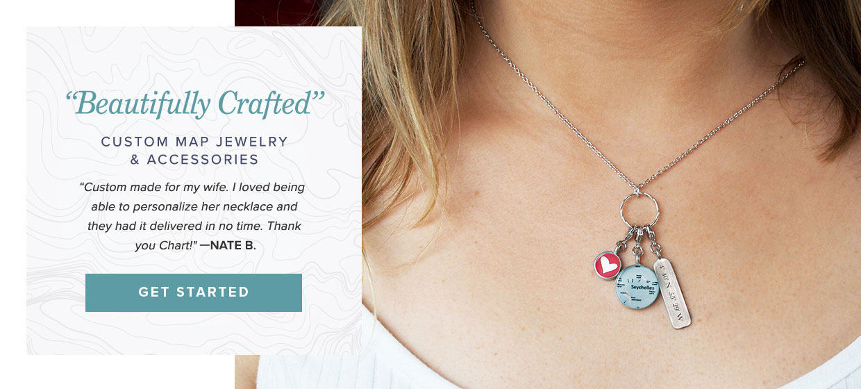 Beautifully crafted custom map jewelry accessories - Custom Charm Necklaces