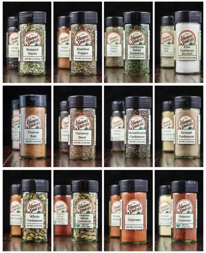 spice bottles from website of Vanns Spices