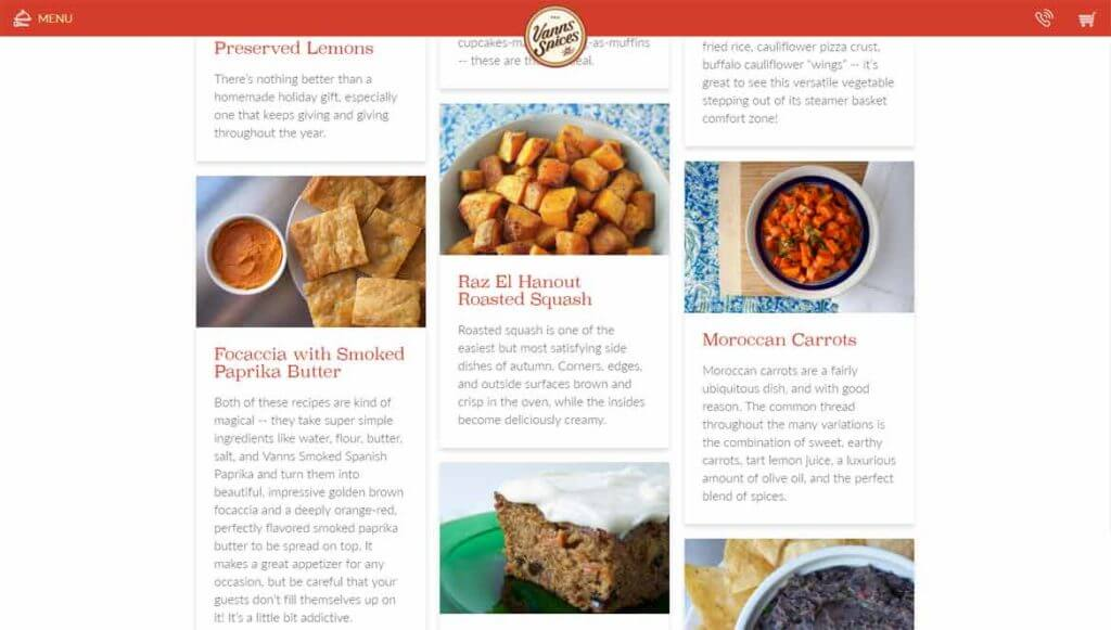 recipe cards Vanns Spices