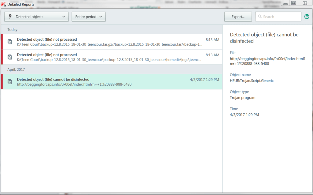 screen capture of Kaspersky anti-virus log