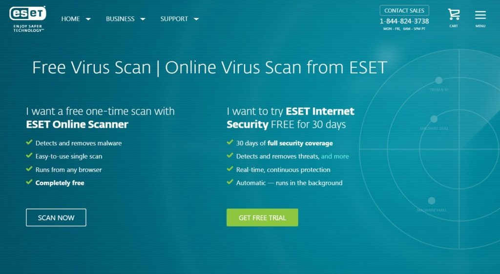 screen capture of Eset website