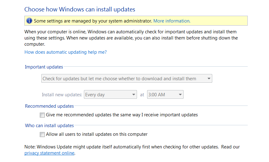 screen capture Microsoft Windows automatic update settings