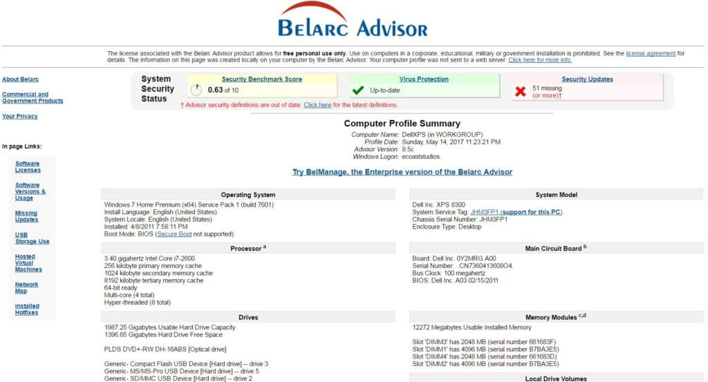 screen capture Belarc Advisor