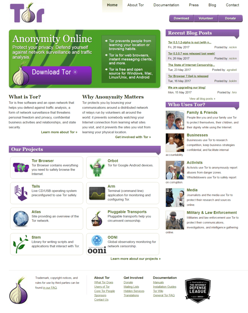 screen capture of Tor website