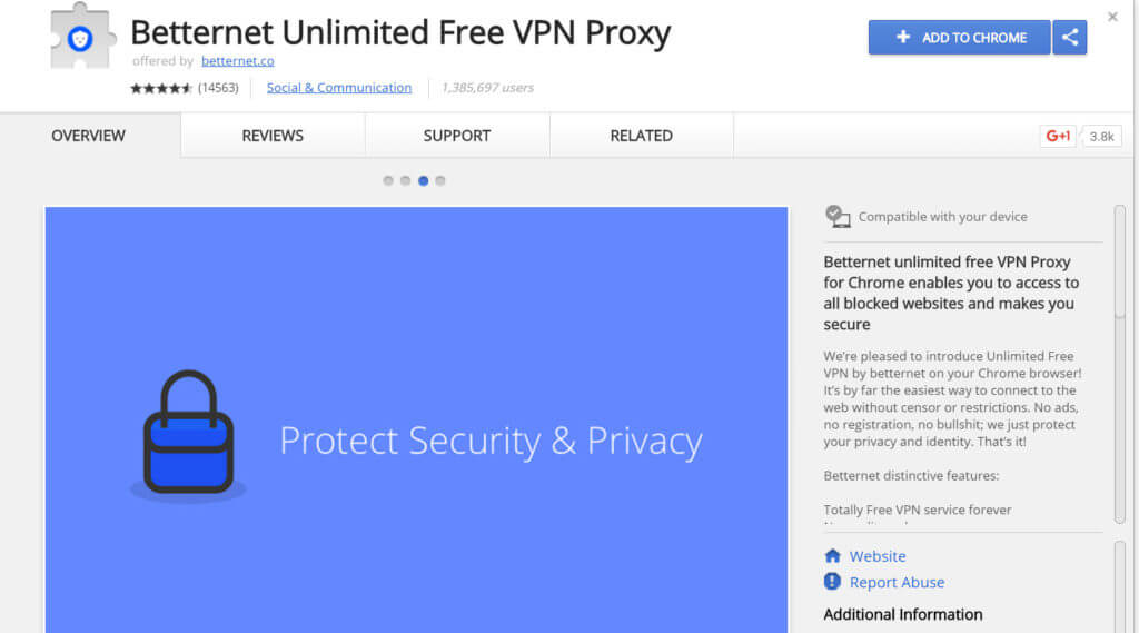 screen capture Betternet VPN extension for Google Chrome