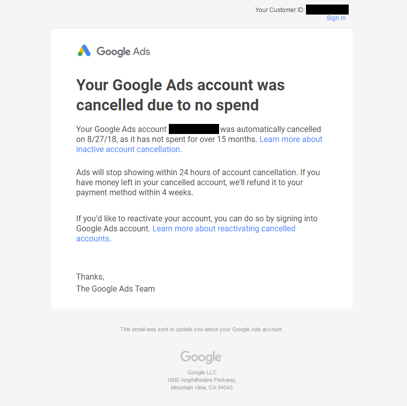 email from Google Ads