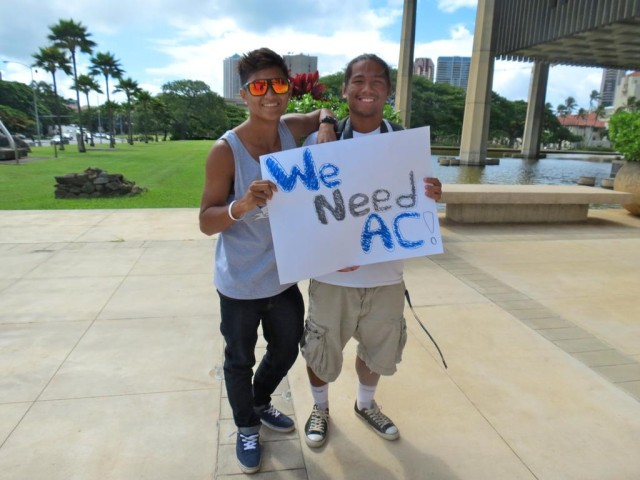 Campbell High students rally for air conditioning in September 2013.