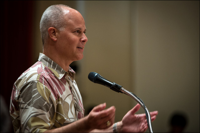 CEO for the Honolulu Authority for Rapid Transportation (HART) answers questions from the Honolulu City Council on June 4, 2014.