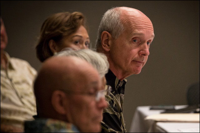 Former UH Board of Regent John Dean shown in Regents meeting on 6.2.14.