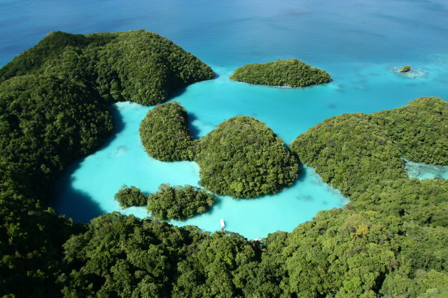 The Rock Islands in Palau, Micronesia.