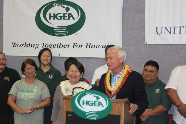 The Hawaii Government Employees Association, seen here endorsing Honolulu Mayor Kirk Caldwell in 2014, backed a suite of incumbents this year, including Caldwell.