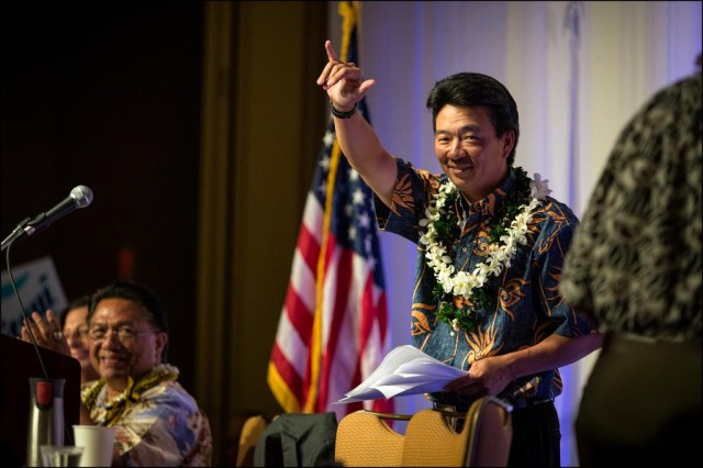 Lt. Gov. Shan Tsutsui at Democratic Party convention