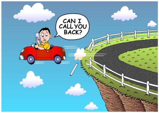 Texting Cartoon Car Crash