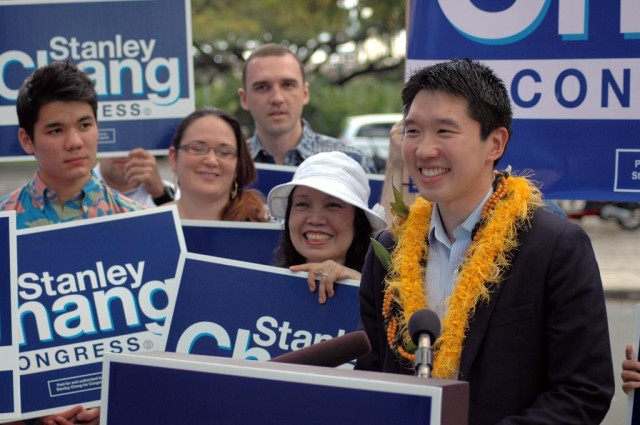 Stanley Chang, seen here with supporters for his 2014 congressional bid, wouldn't rule out trying again this year.