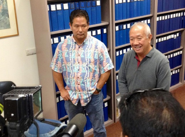 Reps. Marcus Oshiro and Calvin Say at the Hawaii Legislature.